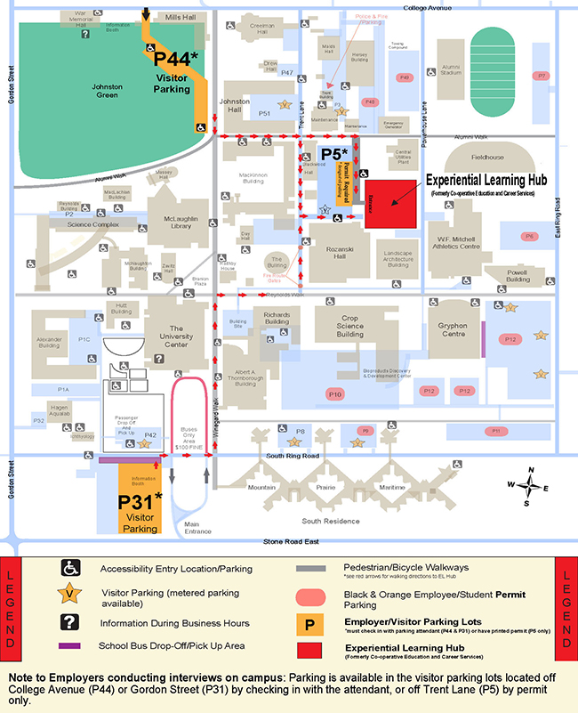 Parking map to Experiential Learning Hub