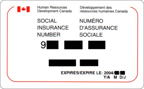 Example of Canadian Social Insurance Card