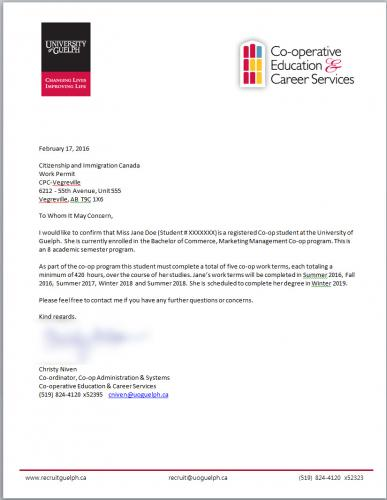 Example of U of G Verification Letter for International Co-op Students
